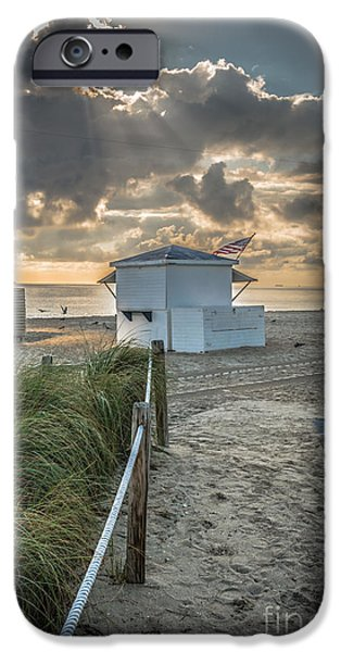 First Star iPhone Cases - Beach Entrance to Old Glory - HDR Style iPhone Case by Ian Monk