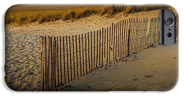 Sand Fences iPhone Cases - Beach Fence at Sunset iPhone Case by Randall Nyhof
