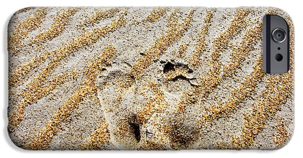 Sand Patterns iPhone Cases - Beach Foot Prints iPhone Case by Sean Davey