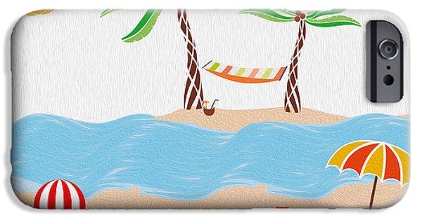 Sand Castles Digital Art iPhone Cases - Beach Fun Illustration iPhone Case by Cosmin Bicu