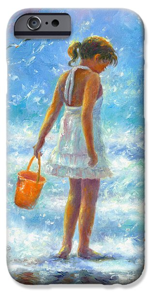 D Wade Paintings iPhone Cases - Beach Girl iPhone Case by Vickie Wade