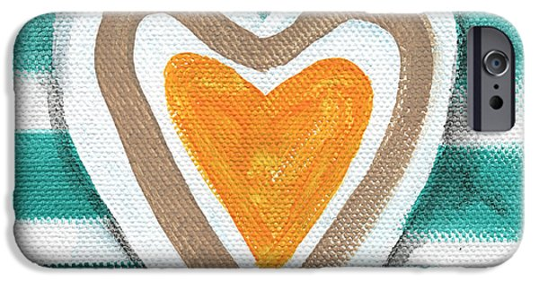 Glass Wall iPhone Cases - Beach Glass Hearts iPhone Case by Linda Woods