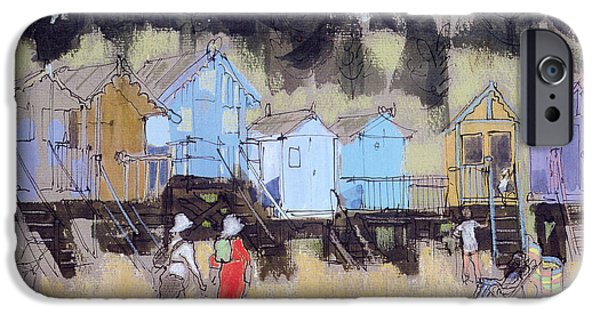 Hut iPhone Cases - Beach Huts At Wells Mixed Media iPhone Case by Felicity House