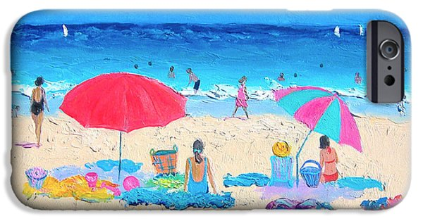 Beach Towel iPhone Cases - Beach painting - Hot Summer Days iPhone Case by Jan Matson