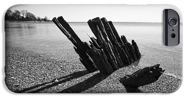 Monotone iPhone Cases - Beach Pilings iPhone Case by Stephanie McDowell