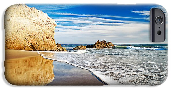 Malibu iPhone Cases - Beach Reflections iPhone Case by Aron Kearney Fine Art Photography