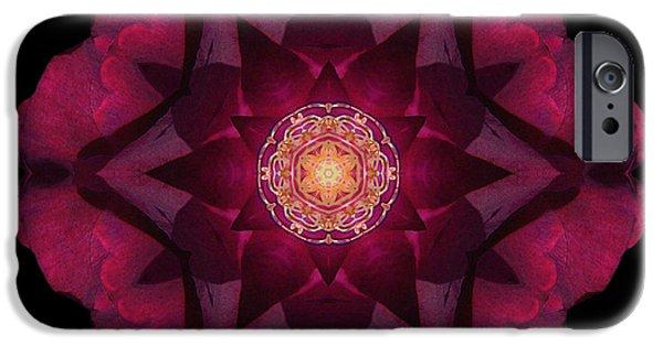 David J Bookbinder iPhone Cases - Beach Rose I Flower Mandala iPhone Case by David J Bookbinder
