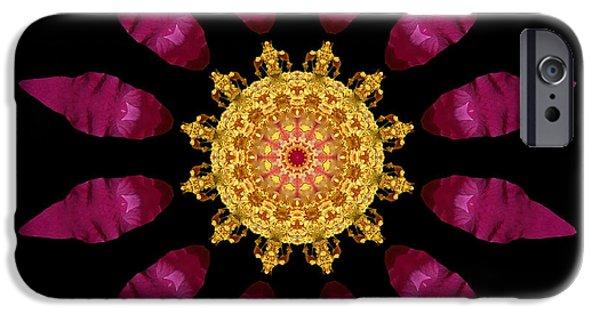 David J Bookbinder iPhone Cases - Beach Rose IV Flower Mandala iPhone Case by David J Bookbinder