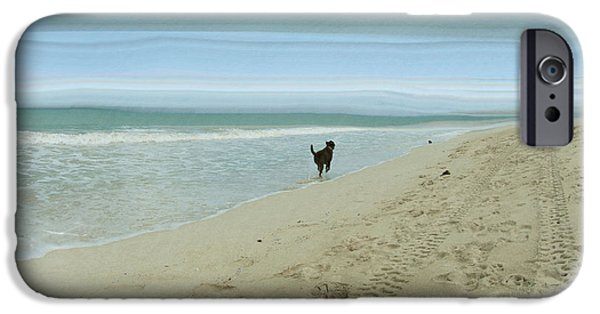 Dog In Landscape iPhone Cases - Beach Run iPhone Case by Juli Scalzi
