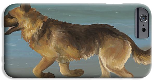 Puppy Digital Art iPhone Cases - Beach Run iPhone Case by Lacey Ewald