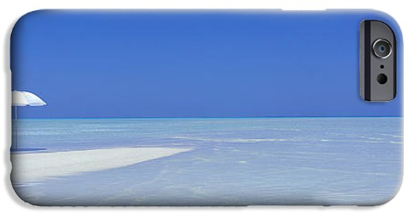 White Sand iPhone Cases - Beach Scene, Digufinolhu, Maldives iPhone Case by Panoramic Images