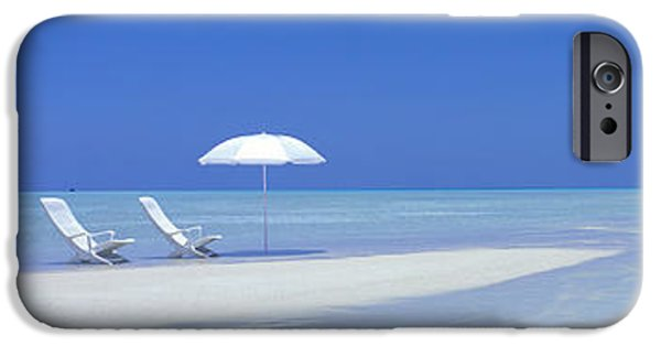 Empty Chairs iPhone Cases - Beach Scene Digufinolhu Maldives iPhone Case by Panoramic Images