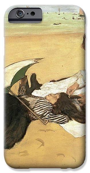 Beach Scene Little Girl Having Her Hair Combed by her Nanny iPhone Case by Edgar Degas