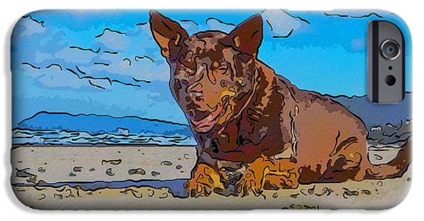 Modern Abstract iPhone Cases - Beach Scout Abstract Dog Art by Omaste Witkowski iPhone Case by Omaste Witkowski