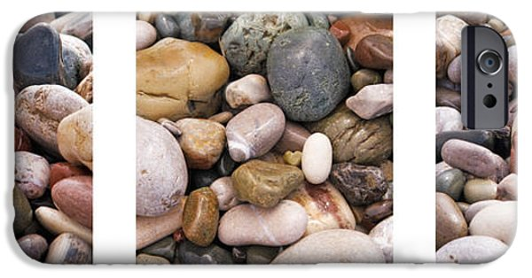 Nature Abstracts iPhone Cases - Beach Stones Triptych iPhone Case by Stylianos Kleanthous