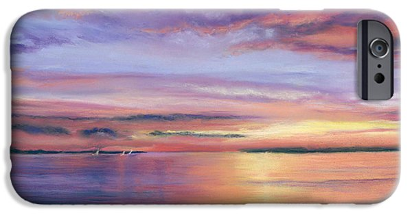 Ocean Sunset Pastels iPhone Cases - Beach sunset iPhone Case by Cy Borbone