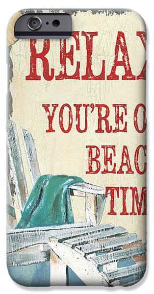 Beach Chair iPhone Cases - Beach Time 1 iPhone Case by Debbie DeWitt