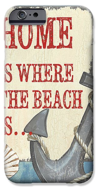 Sailboat Paintings iPhone Cases - Beach Time 2 iPhone Case by Debbie DeWitt