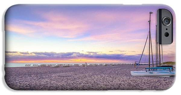 Sunset At The Lake iPhone Cases - Beach Tranquility iPhone Case by Debra and Dave Vanderlaan