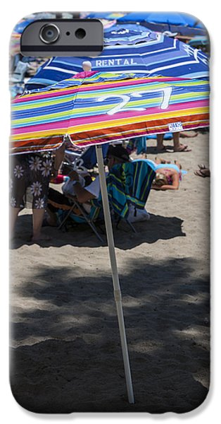 Sand Castles iPhone Cases - Beach Umbrella Rainbow 3 iPhone Case by Scott Campbell