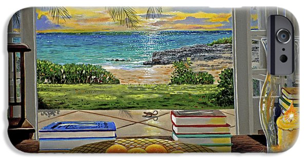 Window Paintings iPhone Cases - Beach View iPhone Case by Carey Chen