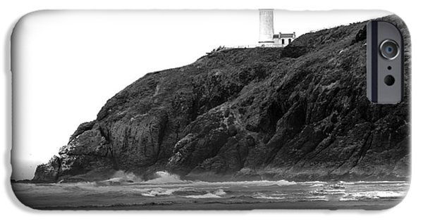 Cape Disappointment iPhone Cases - Beach View of North Head Lighthouse iPhone Case by Robert Bales