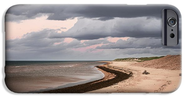 Beach Landscape iPhone Cases - Beach view with storm clouds iPhone Case by Elena Elisseeva
