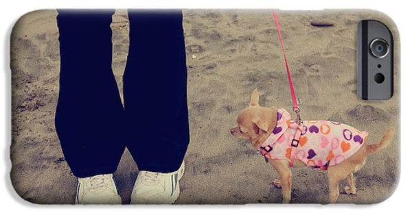 Small Dogs iPhone Cases - Beach Walk iPhone Case by Laurie Search