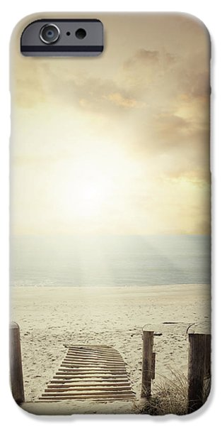 Pathway iPhone Cases - Beach walkway iPhone Case by Les Cunliffe