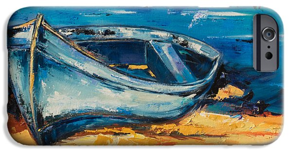 Village iPhone Cases - Beached Blue iPhone Case by Elise Palmigiani