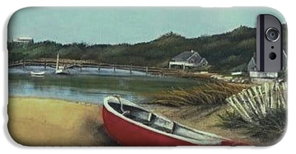 Chatham Mixed Media iPhone Cases - Beached Boat iPhone Case by Diane Strain