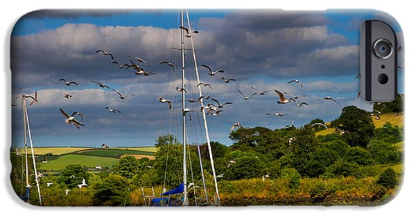 Flying Seagull iPhone Cases - Beached boats on the River Avon iPhone Case by Louise Heusinkveld