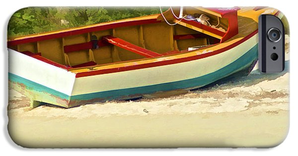 Recently Sold -  - Pleasure iPhone Cases - Beached Fishing Boat of the Caribbean iPhone Case by David Letts