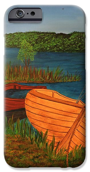 Canadian Sports Paintings iPhone Cases - Beached Till The Next Time iPhone Case by Doug Wilkie