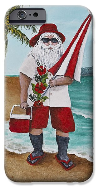 Beachen Santa iPhone Case by Darice Machel McGuire