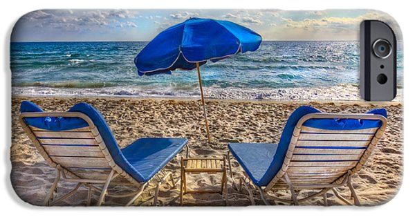 Adirondack Chairs On The Beach iPhone Cases - Beachtime Blues iPhone Case by Debra and Dave Vanderlaan