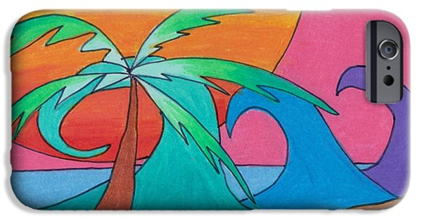 Vibrant Colors Drawings iPhone Cases - Beachy Day iPhone Case by Geree McDermott