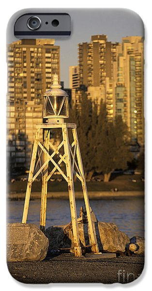 Burrard Inlet iPhone Cases - Beacon and skyscrapers in Vancouver Canada iPhone Case by Ryan Fox