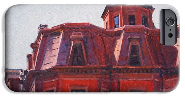City. Boston Paintings iPhone Cases - Beacon Hill Rooftops iPhone Case by Deb Putnam