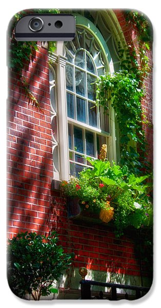 Scenic Boston iPhone Cases - Beacon Hill Window Series iPhone Case by Joann Vitali