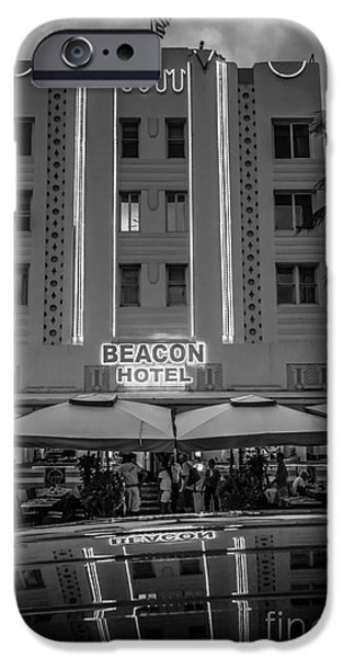 Ianmonk iPhone Cases - Beacon Hotel Art Deco District SOBE MiamI - Black and White iPhone Case by Ian Monk
