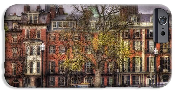 Scenic Boston iPhone Cases - Beacon Street Brownstones - Boston iPhone Case by Joann Vitali