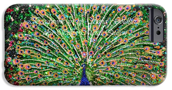 Beadwork Jewelry iPhone Cases - Peacock beadwork art bead embroidery extra-large size unique handcraft iPhone Case by Sofia Metal Queen
