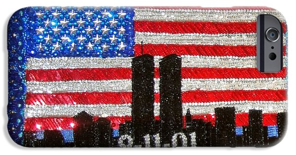Handcrafted Jewelry iPhone Cases - USA flag New York 9.11.01 - Beadwork 9.11 - bead embroidery  iPhone Case by Sofia Metal Queen