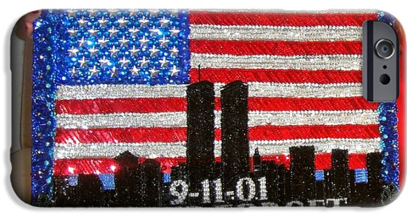 Stripes Jewelry iPhone Cases - USA flag New York 9.11.01 - Beadwork 9.11 - bead embroidery  iPhone Case by Sofia Metal Queen