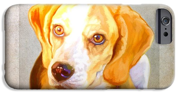 Cute Puppy Pictures Digital Art iPhone Cases - Beagle Art iPhone Case by Iain McDonald
