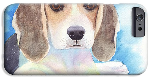 Cute Puppy iPhone Cases - Beagle Baby iPhone Case by  Linda Halom
