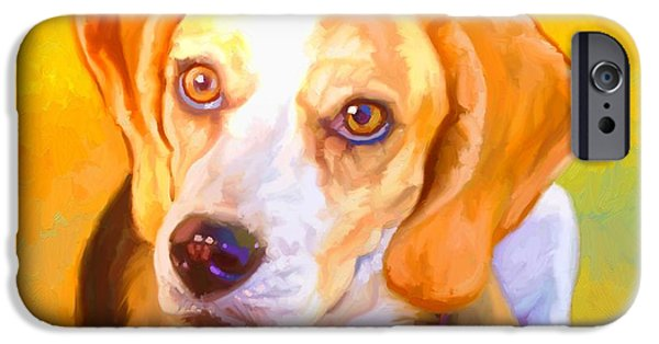 Cute Puppy Pictures Digital Art iPhone Cases - Beagle Dog Art iPhone Case by Iain McDonald