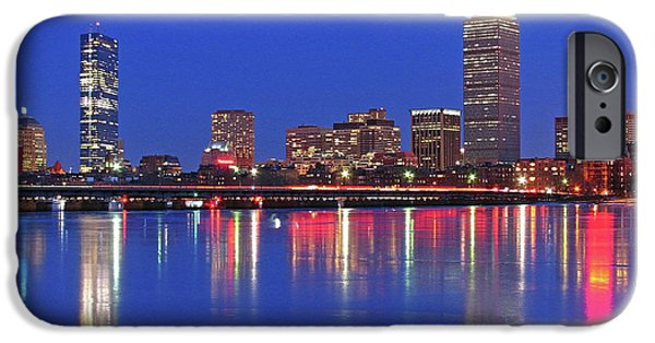 City. Boston iPhone Cases - Beantown City Lights iPhone Case by Juergen Roth