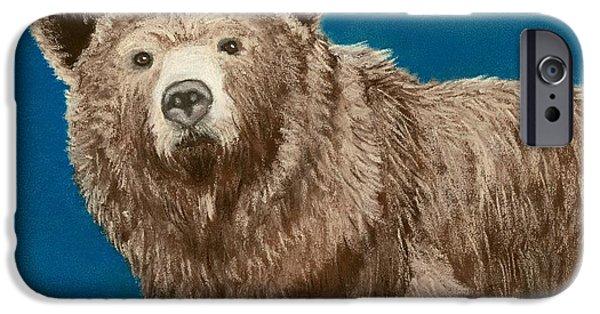 Wild Animals Pastels iPhone Cases - Bear iPhone Case by Anastasiya Malakhova